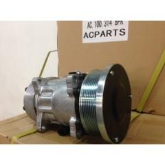 Описание: компрессор SD7H15, 12V, поликлиновый шкив PV8, диаметр шкива 133,00 мм, горизонтальное расположение выходов.