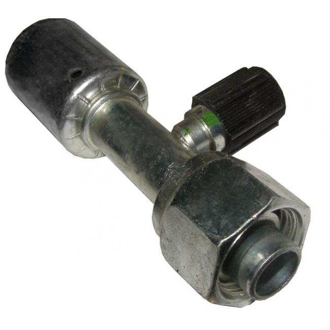Фитинг №8 стальной, с сервисным портом, прямой под шланг внутренним диаметром 10мм и резьбой гайки 3/4-16UNF тип соединения - (O-ring). Стакан стальной внутренний диаметр ¢ 23.5